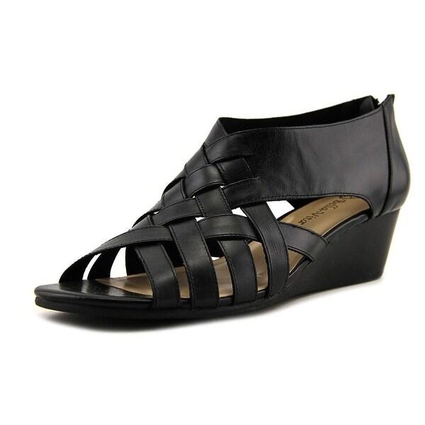 Bella Vita Isabelle Women W Open Toe Leather Black Sandals