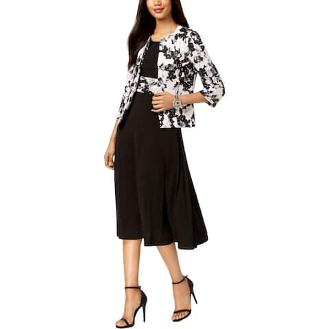 Jessica Howard Womens Dress With Jacket Metallic Floral Print