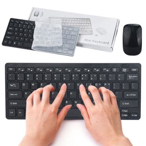 Slim Mini 2.4G Cordless Wireless Optical Keyboard Mouse Kit For PC Laptop Win7/8