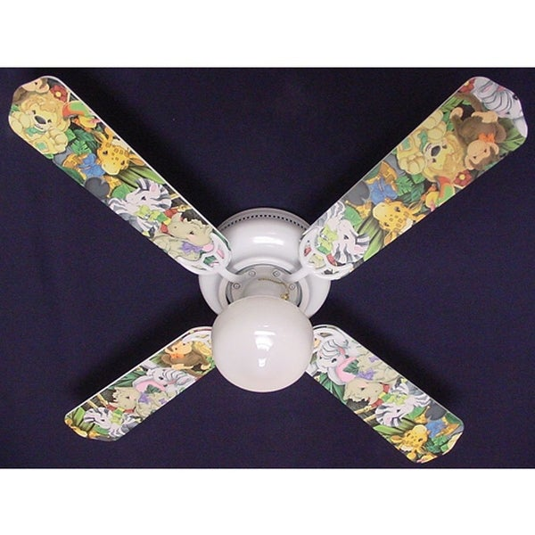 Zootles Baby Jungle Animals Print Blades 42in Ceiling Fan Light Kit - Multi
