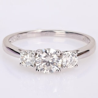 Link to Miadora Sterling Silver 1ct TGW Created White Moissanite 3-Stone Engagement Ring Similar Items in Rings