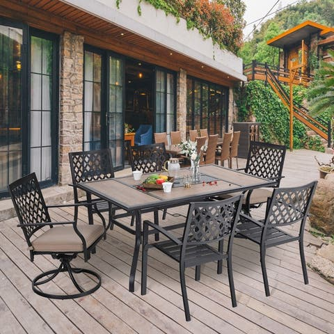 MFSTUDIO 7PCS Patio Dining Set, Large Rectangular Wood Like Top Table with 4 Metal Chairs and 2 Swivel Chairs