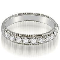 0.55 CT.TW Antique Style Milgrain Round Diamond Wedding Ring in 14KT