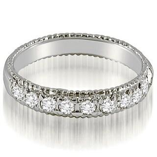 0.55 CT.TW Antique Style Milgrain Round Diamond Wedding Ring in 14KT