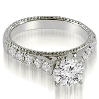 0.80 CT.TW Vintage Cathedral Round Cut Diamond Engagement Ring - White H-I