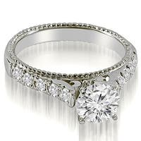 0.95 CT.TW Vintage Cathedral Round Cut Diamond Engagement Ring - White H-I