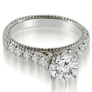 1.45 CT.TW Vintage Cathedral Round Cut Diamond Engagement Ring - White H-I (More options available)
