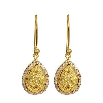 Genuine Yellow & White Diamond Pear Drop Shape Dangle Earring in 925 Sterling Silver