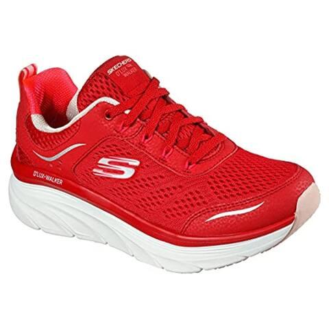 Skechers Women's Relaxed Fit D'Lux Walker - Infinite Motion Sneaker, Red, 9