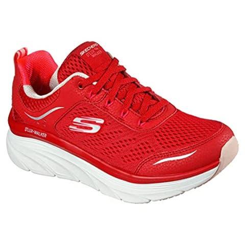 Skechers Women's Relaxed Fit D'Lux Walker - Infinite Motion Sneaker, Red