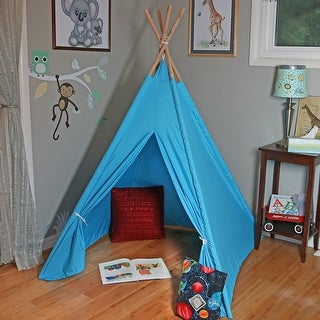 Sunnydaze Large Polyester Kids Teepee Play Tent with Carrying Case, 4-Pole Style, 5-Foot Tall