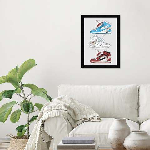 Wynwood Studio 'My Sneaker Collection' Fashion and Glam Wall Art Framed Print Shoes - Blue, White