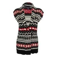 American Living Women's Intarsia Toggle Sweater Vest