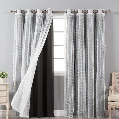 Aurora Home Mix & Match Blackout and Dot Sheer 4 Piece Curtain Panel Set - 52x84