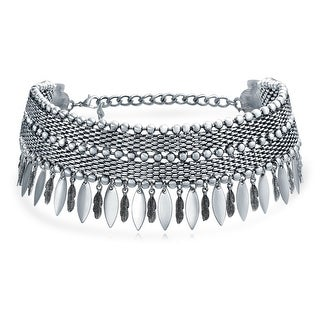 Bling Jewelry Native American Southwestern Style Dangling Feather Choker Rhodium Plated Necklace 12 Inches