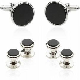 Tuxedo Cufflinks And Studs Black Onyx With Silver Tone