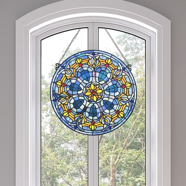 """River of Goods 19.5""""H Chartres Cathedral Stained Glass Window Panel - 19.5"""" x 0.15"""" x 19.5"""""""