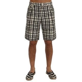 Dolce & Gabbana White Black Striped Casual Shorts
