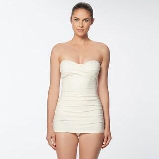 Carmen Marc Valvo Classic Weave Ivory Twist Front Bandeau Swimdress - White