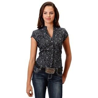 Roper Western Shirt Womens S/S Prints Black 03-051-0325-0467 BL - s