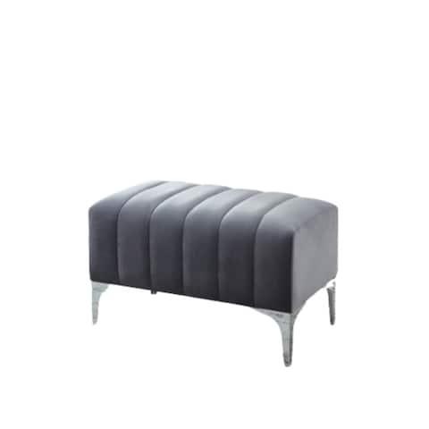 Ansley Velvet Bench With Chrome Base (Gray)