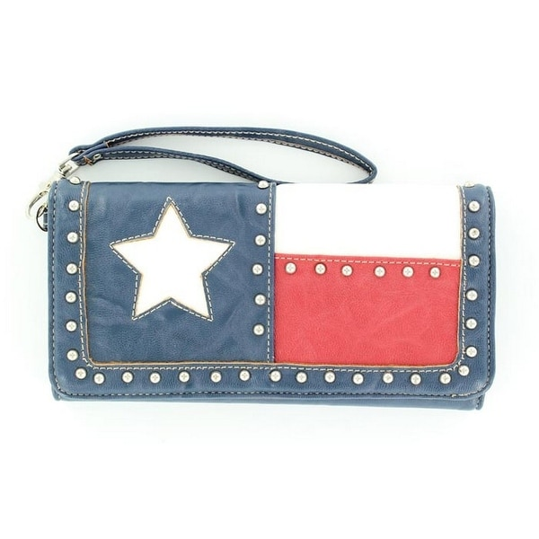 Nocona Western Wallet Womens Texas Flag Star Red White - 7 1/2 x 4 1/2