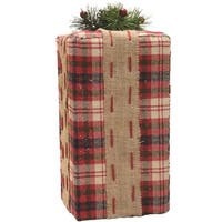 "14.5"" Rectangular Red, Brown and Green Plaid Gift Box with Pine Bow Table Top Christmas Decoration"