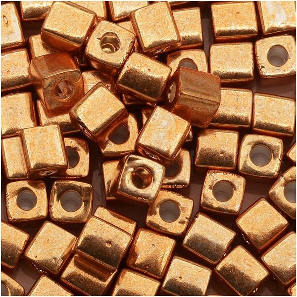 Miyuki 4mm Cube Beads - Metallic Gold 1053 (10 Grams)