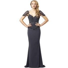 Mac Duggal Womens Beaded V-Neck Formal Dress