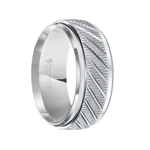 LANCELOT Coin Edge Beveled Step Edges Diagonal Grooves Tungsten Ring by Triton Rings - 9mm