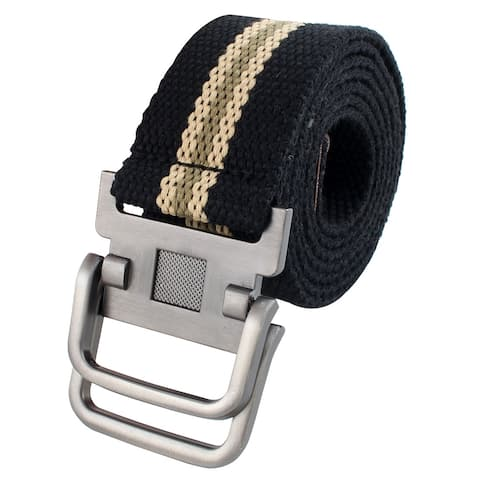 Men Sports Casual Nylon Adjustable Canvas Web Waist Belt Stripe Black
