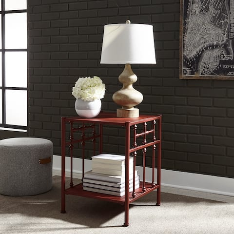 Carbon Loft Cauthen Vintage Series Red Distressed Metal Open Night Stand