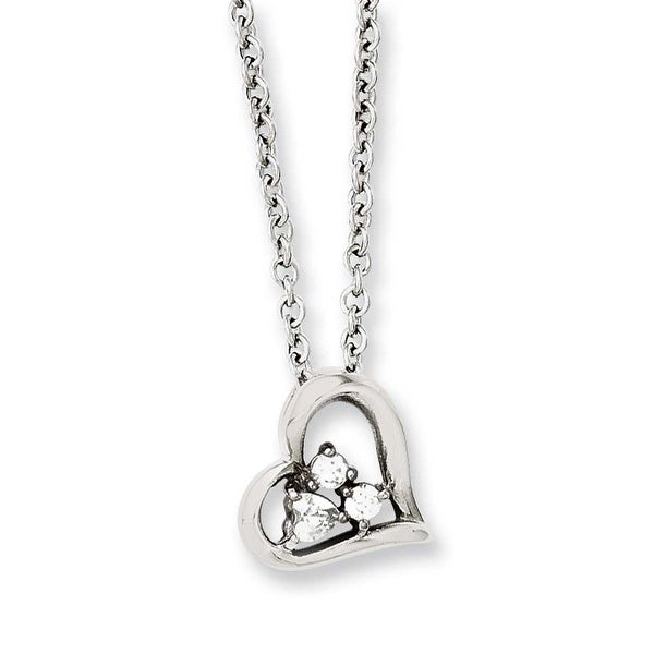 Chisel Stainless Steel Heart with CZs Pendant 18in Necklace (2.3 mm) - 18 in