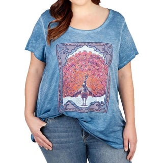 Lucky Brand Womens Plus Casual Top Graphic Short Sleeves