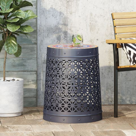 Cranbrook Outdoor Lace Cut Side Table with Tile Top by Christopher Knight Home