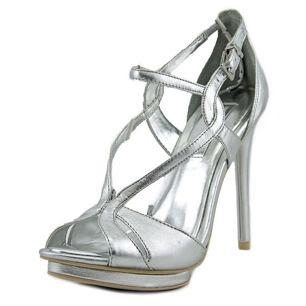 BCBG Max Azria Farid Women Open Toe Leather Silver Platform Heel