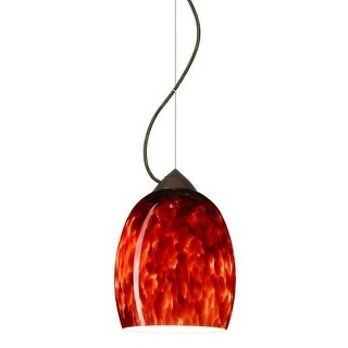 Besa Lighting 1KX-169741 Lucia 1 Light Cable-Hung Pendant with Garnet Glass Shade