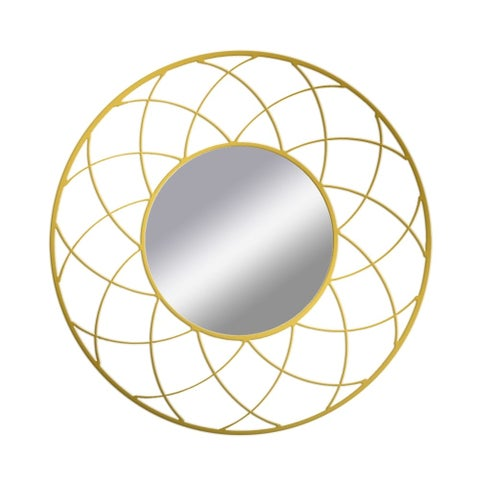 PTM Images 5-1659 24 Inch Diameter Round Web Framed Mirror - Gold - N/A