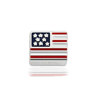 Bling Jewelry Patriotic American Flag Charm 925 Sterling Silver USA Bead for Bracelets