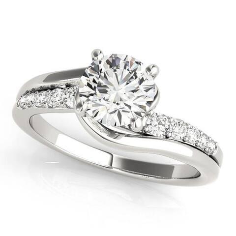 Auriya 14k Gold 1ctw Modern Moissanite and Diamond Engagement Ring 1/4ctw
