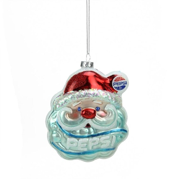 "4.5"" Glittered Santa Claus Head Pepsi Christmas Ornament"