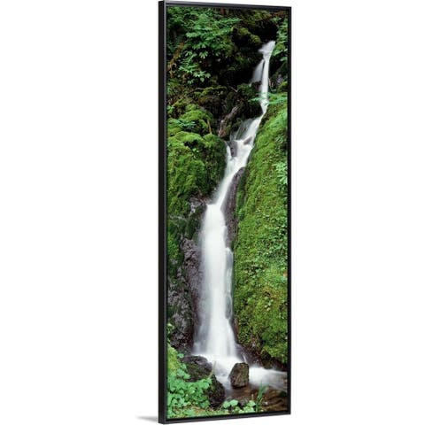 """""""Waterfall Olympic National Park WA"""" Black Float Frame Canvas Art"""