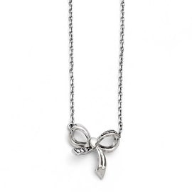 Chisel Stainless Steel Polished CZ Bow with 1.75in ext. Necklace (1 mm) - 16 in