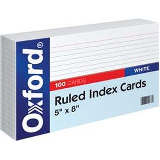 """Ruled White - Oxford Index Cards 5""""X8"""" 100/Pkg"""