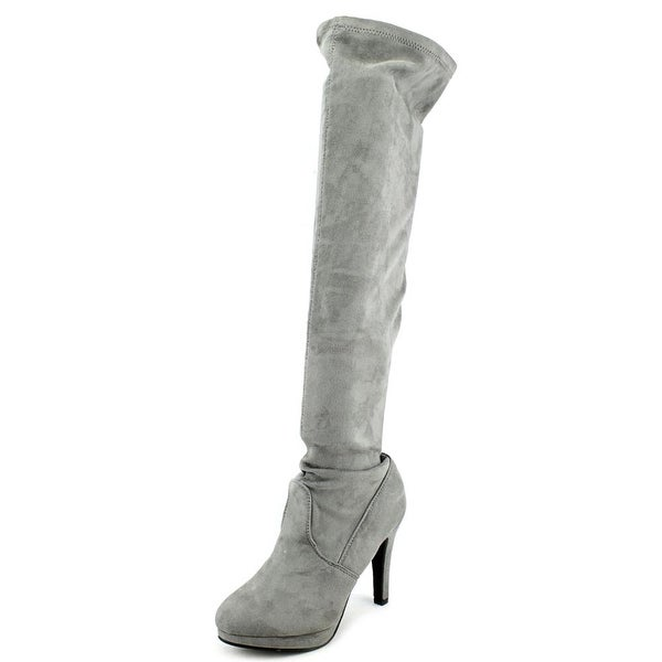 Report Nadya Women  Round Toe Synthetic Gray Over the Knee Boot