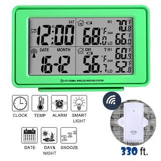 Electronic Digital Alarm Clock in Black, LCD Large Display, Indoor & Outdoor Temperature Wireless Senor, Date, Week-Black