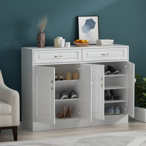 Modern 2-Drawer Solid Wood Shoe Cabinet Storage Table