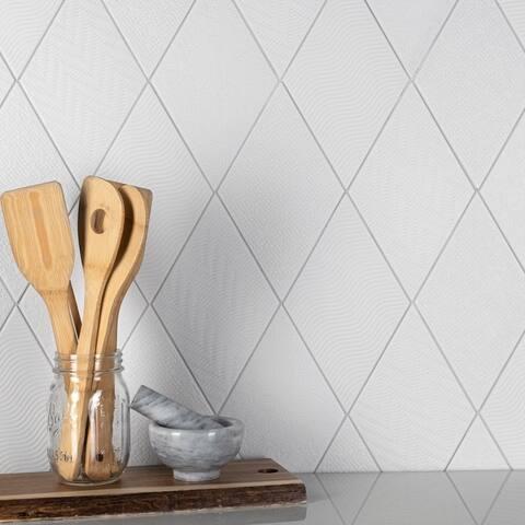 """SomerTile Rhombus White 5.5"""" x 9.5"""" Porcelain Floor and Wall Tile"""