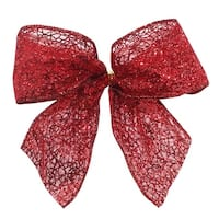 """Pack of 6 Sheer Red Glittered Mini Christmas Bow Decorations 4.5"""" x 5"""""""