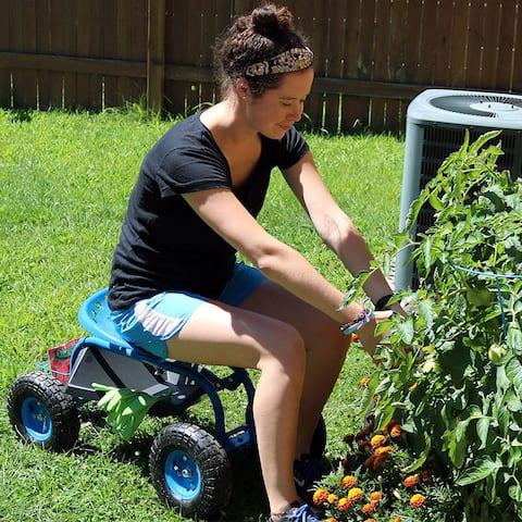 Sunnydaze Garden Cart with Steering Handle, Swivel Seat and Basket - Blue